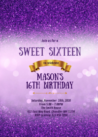 Purple bokeh 16th birthday party invitation
