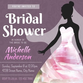Purple Bridal Shower Invitation Square Video