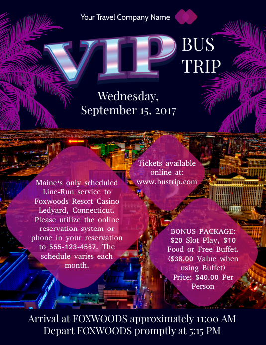 Purple Bus Trip Flyer Template