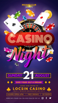 Purple Casino Night Invitation Digital Displa template