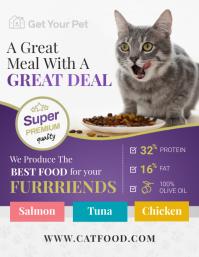 Purple Cat Food Flyer template