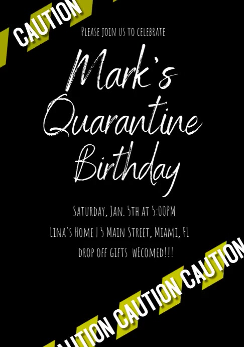 Purple Caution Quarantine Birthday Invitation A4 template