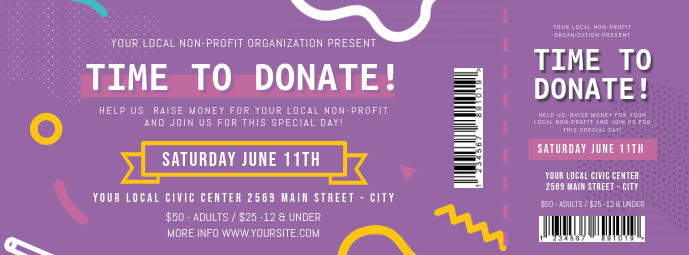Purple Charity Event Ticket Facebook Cover template