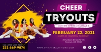Purple Cheerleader Team Tryout Facebook Post template