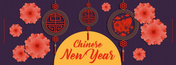 Purple Chinese New Year Facebook Cover Photo Facebook-coverfoto template