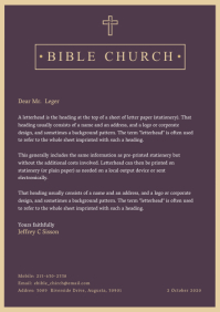 Purple Church Letterhead Template