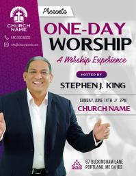 Purple Church Worship Flyer
