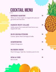 Purple Cocktail Menu Poster