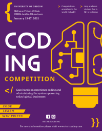 Purple Coding Competition Custom Flyer Pamflet (Letter AS) template