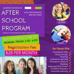 Purple College Afterschool Program Ad Instagram Post template