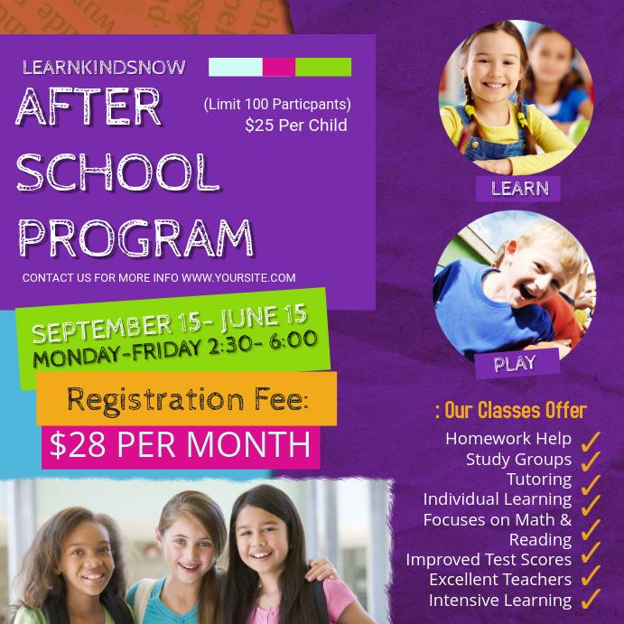 Purple College Afterschool Program Ad