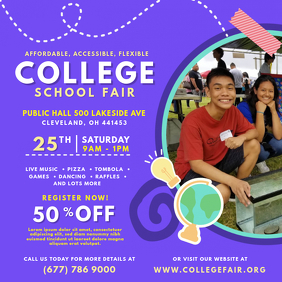 Purple College Fair Online Invitation