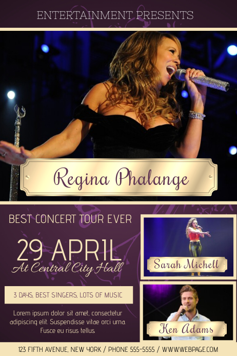 purple concert flyer template with three pictures