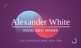 Purple Conference Speaker Tag Cartellino template