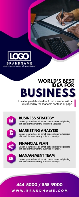 Purple Corporate Business Roll up Banner Stan ป้ายโรลอัป 2' × 5' template