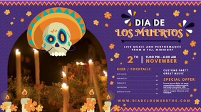 Purple Day of the Dead Bar Menu Display Ecrã digital (16:9) template