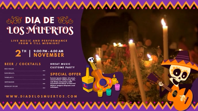 Purple Dia de los Muertos Digital Display Vid