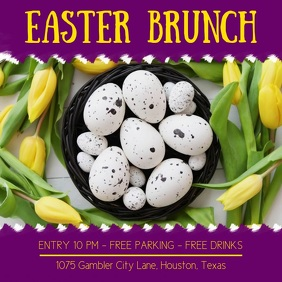 Purple Easter Brunch Square Video Ad