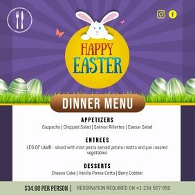 Purple Easter Dinner Menu Square Video