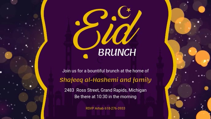 Purple Eid Brunch Invitation Facebook Header Ikhava Yevidiyo ye-Facebook (16:9) template