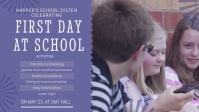 Purple First Day of School Event Invite