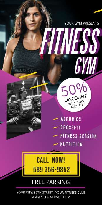 Purple Fitness Gym Roll up Banner