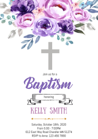 Purple Floral baptism invitation A6 template