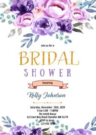 Purple Floral theme invitation A6 template