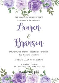 Purple Floral wedding invitation A6 template