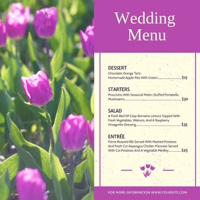 Purple Floral Wedding Menu Square Video