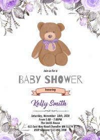 Purple flower bear invitation A6 template