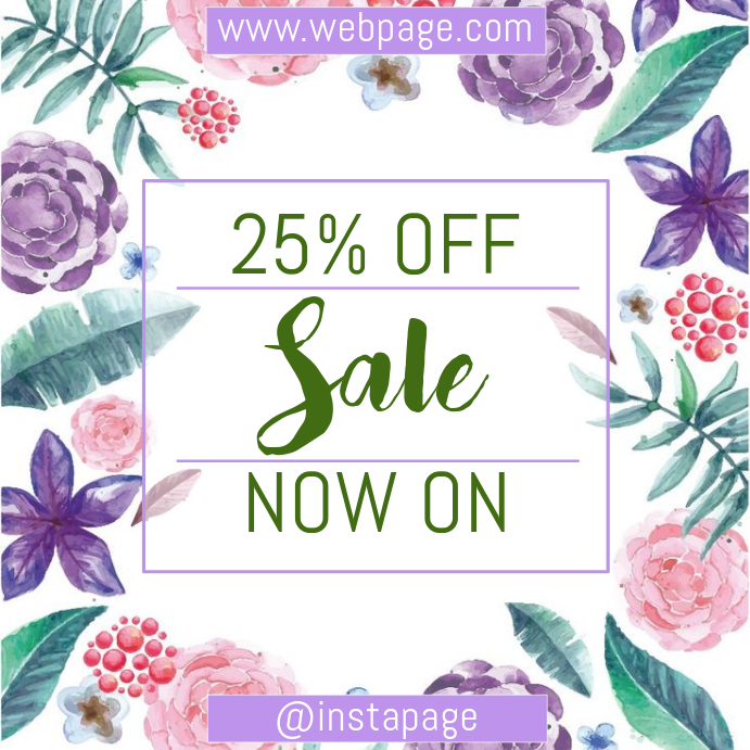 Purple flower sale instagram post
