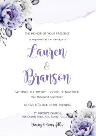 Purple flower watercolor invitation A6 template