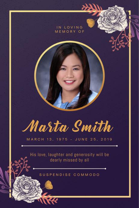 Purple Funeral Reception Invite Poster