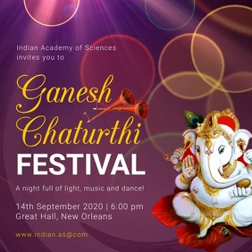 Purple Ganesh Chaturthi Invitation Instagram Square (1:1) template