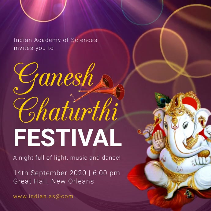 Purple Ganesh Chaturthi Invitation Instagram Kvadrat (1:1) template