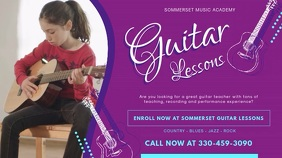 Purple Guitar School Lessons Advertisement Ba