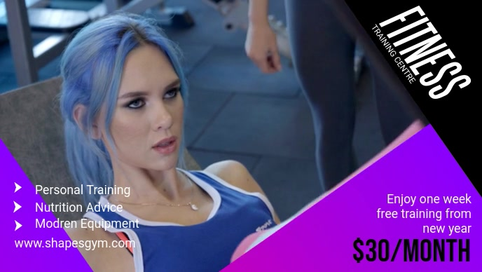 Purple Gym Advert Facebook Cover Video