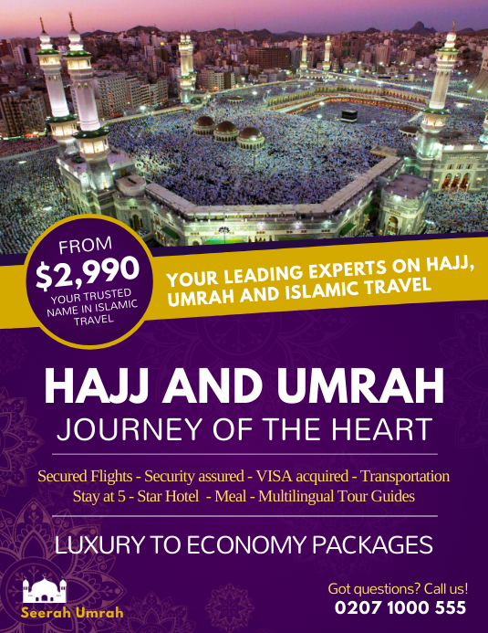 Purple Hajj and Umrah Package Flyer