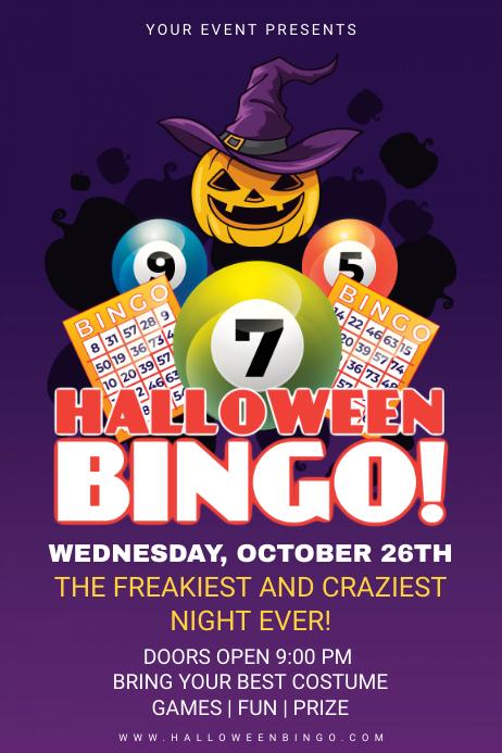 Purple Halloween Bingo Night Invitation Poster Design