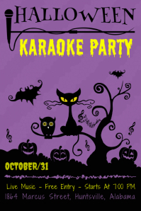 Purple Halloween Karaoke Poster