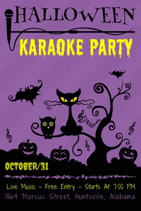 Purple Halloween Karaoke Poster โปสเตอร์ template