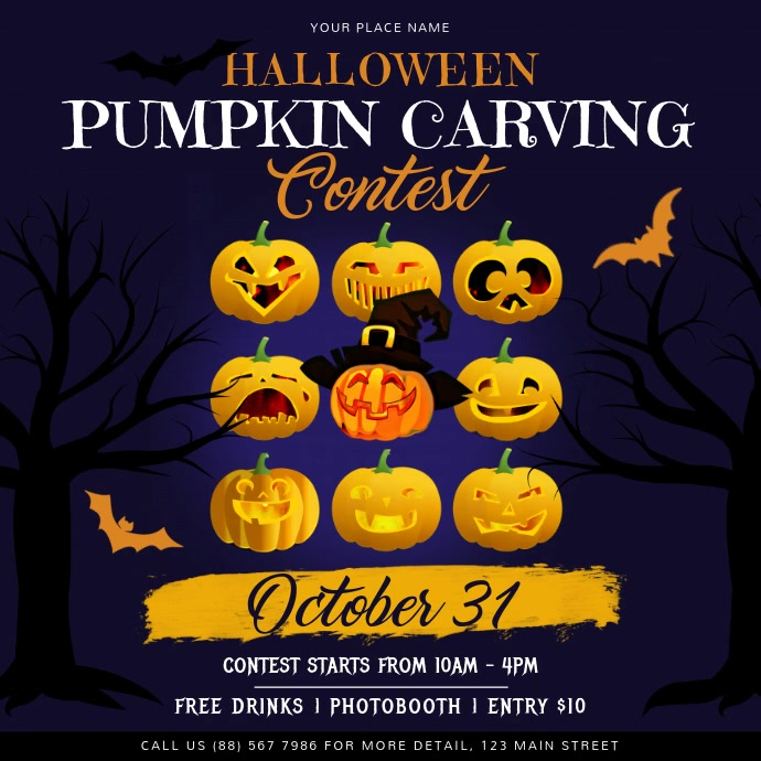 Purple Halloween Pumpkin Carving Contest Inst
