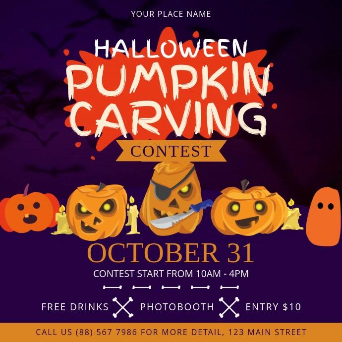 Purple Halloween Pumpkin Carving Contest Squa Square (1:1) template