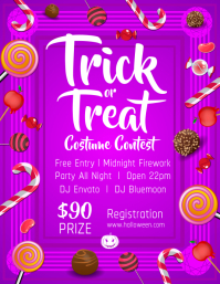 Purple Halloween Trick or Treat Flyer template