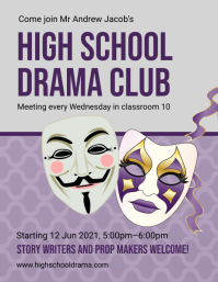 Purple high school drama club flyer template