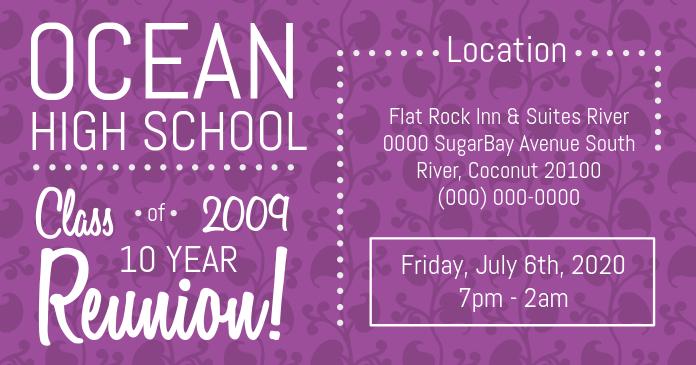 Purple High School Reunion Facebook Cover Photo template