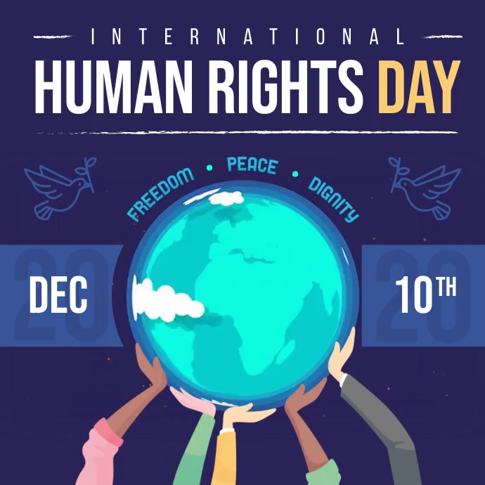 Purple International Human Rights Square Vide Cuadrado (1:1) template