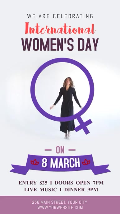 Purple International Women's Day Event Digital Display Video