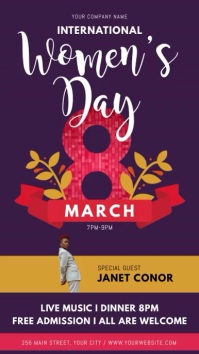 Purple International Women's Day Event Digital Display Video template